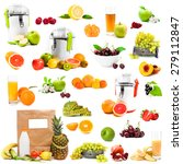 photo collage fruits and juices ... | Shutterstock . vector #279112847