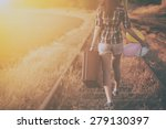 retro photo of traveler woman | Shutterstock . vector #279130397