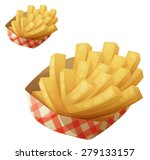 french fries in the paper... | Shutterstock .eps vector #279133157