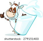 cute cow behind glass of milk   ... | Shutterstock .eps vector #279151403