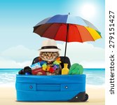 funny cat going on vacation | Shutterstock . vector #279151427