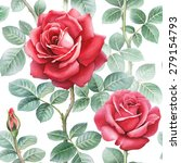 watercolor rose flowers... | Shutterstock . vector #279154793