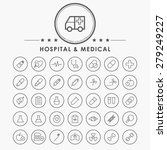 hospital and medical line icons ... | Shutterstock .eps vector #279249227