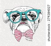 portrait of a bulldog in green...   Shutterstock .eps vector #279284027