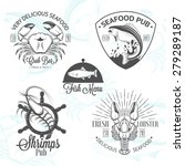 set of vintage seafood logos... | Shutterstock .eps vector #279289187