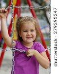 little girl on the playground.... | Shutterstock . vector #279295247