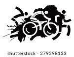 triathlon grunge motive three... | Shutterstock .eps vector #279298133
