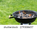 empty grill with fire flames... | Shutterstock . vector #279308657