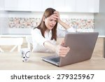 young woman having trouble with ... | Shutterstock . vector #279325967