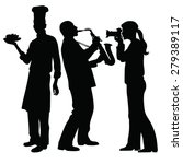 saxophonist playing girl taking ... | Shutterstock .eps vector #279389117