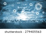 cityscape with holographic... | Shutterstock . vector #279405563