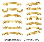set of golden ribbons on white | Shutterstock . vector #279450497