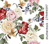 seamless floral pattern with... | Shutterstock .eps vector #279494597