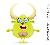 green cartoon cute monster... | Shutterstock .eps vector #279516713
