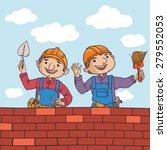 happy cute builders working in... | Shutterstock .eps vector #279552053