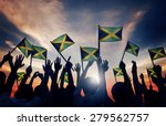 group of people waving flag of... | Shutterstock . vector #279562757