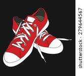 red sneakers for unisex on... | Shutterstock .eps vector #279644567