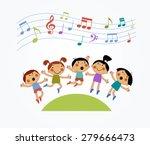 cartoon children jumping and... | Shutterstock .eps vector #279666473