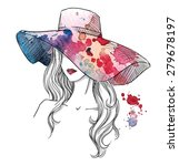 sketch of a girl in a hat.... | Shutterstock . vector #279678197