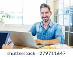 partners working at desk using... | Shutterstock . vector #279711647