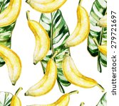 Watercolor Pattern With Banana...