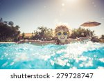 happy child playing in swimming ... | Shutterstock . vector #279728747