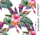 watercolor tropical flowers and ... | Shutterstock . vector #279750377