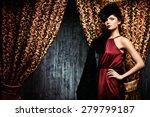 beautiful young woman posing in ... | Shutterstock . vector #279799187