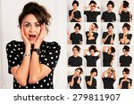 set of pictures of pretty young ... | Shutterstock . vector #279811907