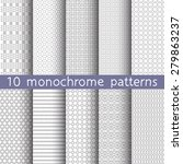 10 monochrome seamless patterns ... | Shutterstock .eps vector #279863237