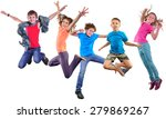 group happy dancing jumping... | Shutterstock . vector #279869267