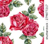 red roses seamless watercolor... | Shutterstock .eps vector #279877217