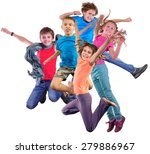 group happy dancing jumping... | Shutterstock . vector #279886967