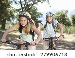 teenage couple cycling through... | Shutterstock . vector #279906713