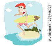 man holding surfboard | Shutterstock .eps vector #279946727
