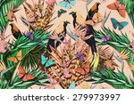 beautiful fashionable seamless ... | Shutterstock . vector #279973997