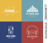 collection of music logos made... | Shutterstock .eps vector #280003877