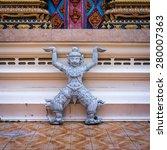 Small photo of Statue of Rakshasa in the temple Wat Phra Nang Sang, Phuket, Thailand