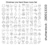 christmas line hand drawn icon... | Shutterstock .eps vector #280013333