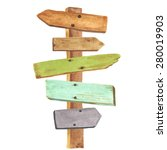 watercolor wooden signpost.... | Shutterstock .eps vector #280019903