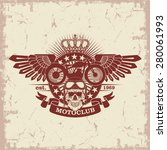 stamp moto club with a skull... | Shutterstock .eps vector #280061993