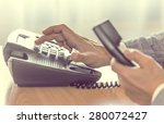 businessman dialing voip phone... | Shutterstock . vector #280072427