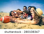group of friends playing with... | Shutterstock . vector #280108367