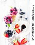 homemade berry ice cream cones... | Shutterstock . vector #280133177