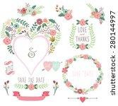 floral heart shape invitation   Shutterstock .eps vector #280144997