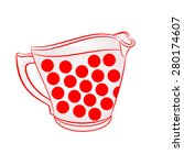 milk jug with red dots part of... | Shutterstock .eps vector #280174607