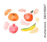 set of watercolor hand drawn... | Shutterstock .eps vector #280198007