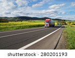 red and green trucks arrives on ... | Shutterstock . vector #280201193
