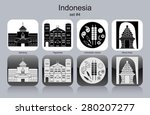landmarks of indonesia. set of... | Shutterstock .eps vector #280207277