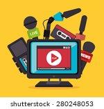 journalism design over yellow... | Shutterstock .eps vector #280248053